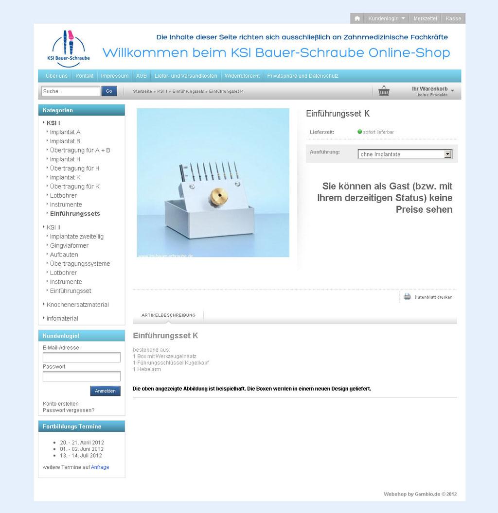 Webdesign Gambio Onlineshop K.S.I. Bauer Schraube