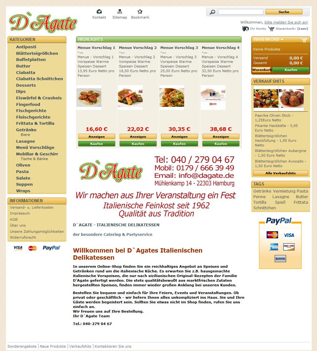 Dagate Onlineshop Startseite