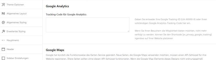 Google Dienste Enfold Theme