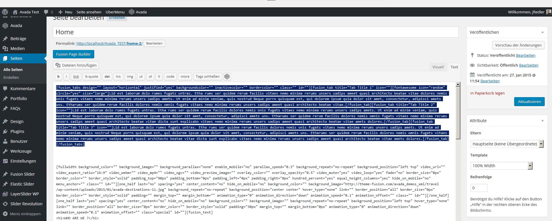 Eingesetzer Shortcode im Default Editor Modus