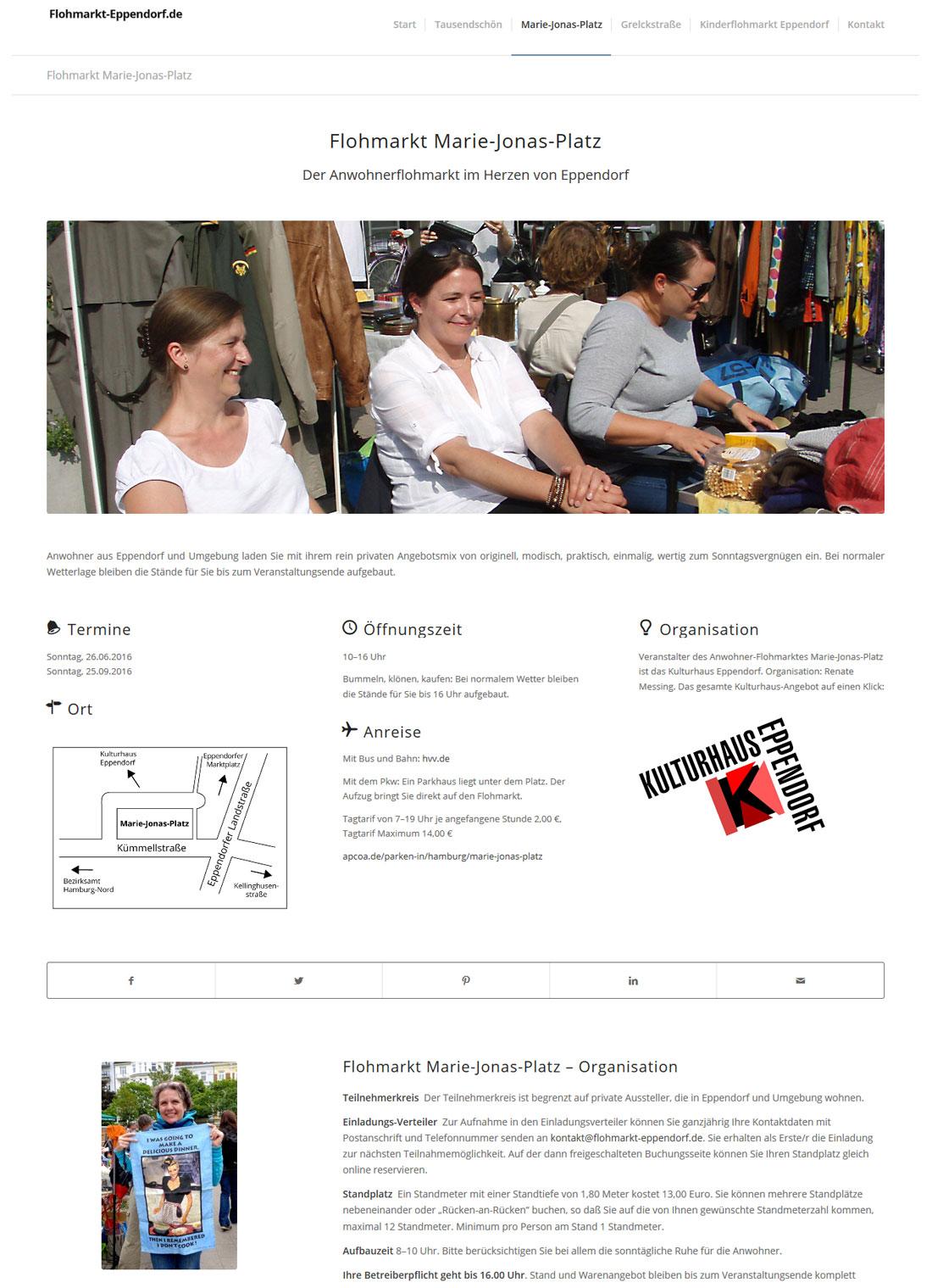 Flohmarkt Eppendorf Seitenansicht Marie-Jonas-Platz