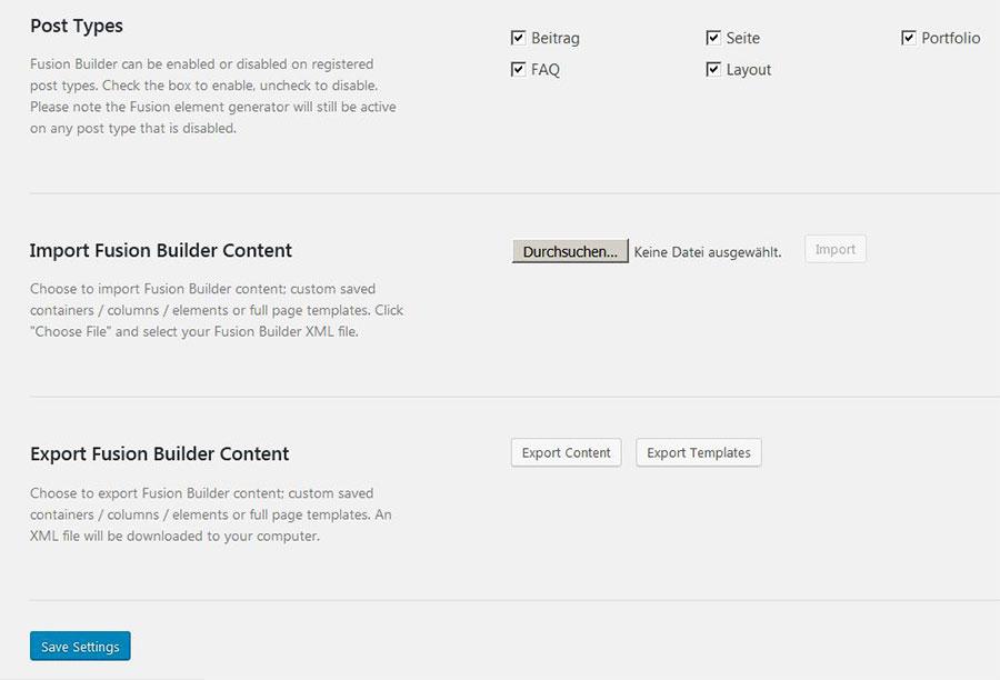 Avada 5 Exporteinstellungen für Content