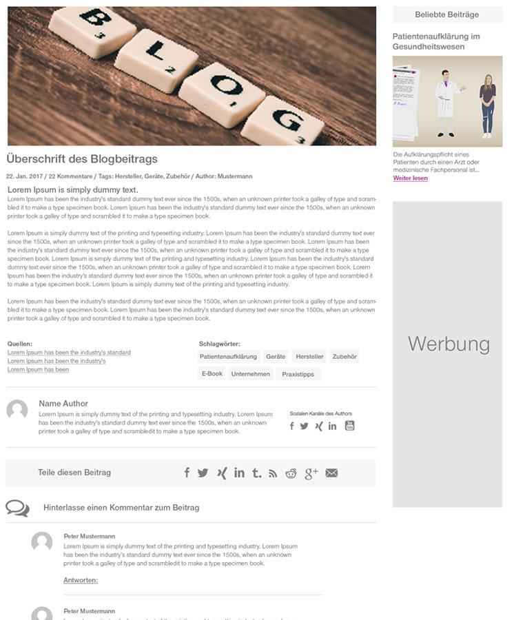 Blogbeitrag Detail medical universe Screendesign für medical-universe.net Webdesign Hamburg | JF Mediendesign