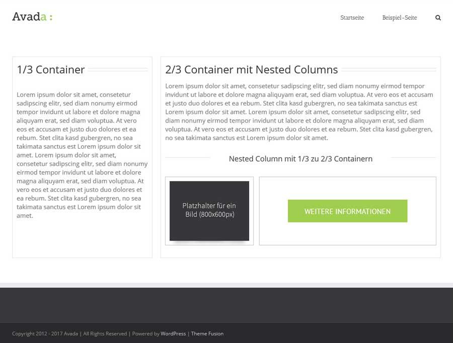 Beispiellayout für nested columns im Avada Theme