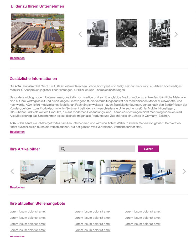 Profil medical universe Screendesign für medical-universe.net Webdesign Hamburg | JF Mediendesign