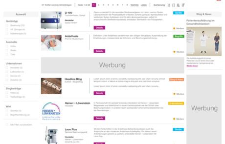 UI-Design medical universe.net
