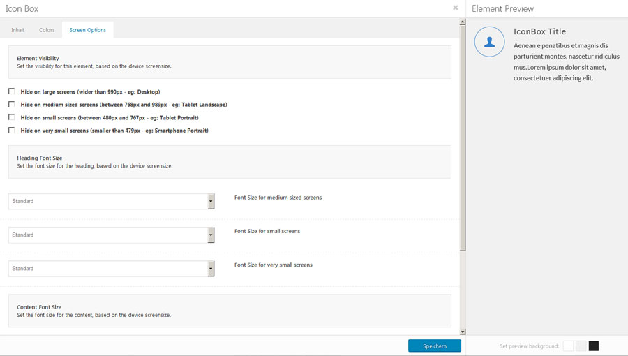 Enfold Screen-Options-Tab fuer Gestaltungselemente