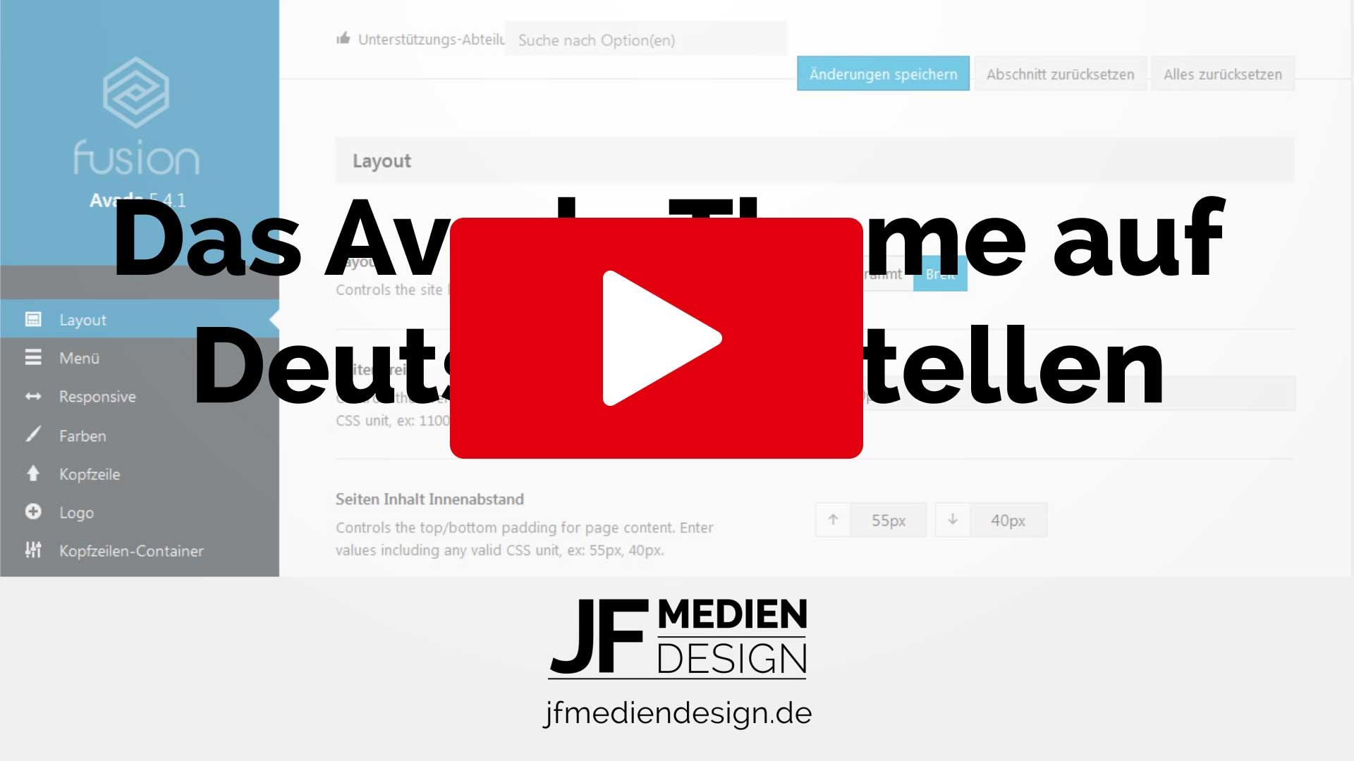 Avada Theme auf deutsch umstellen YouTube Video Tutorial