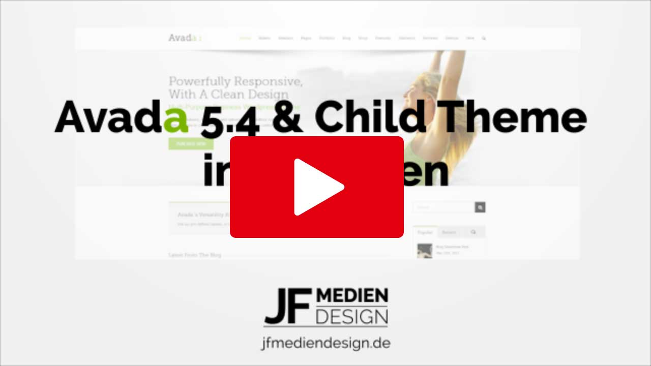 Avada Child Theme installieren YouTube Video Tutorial