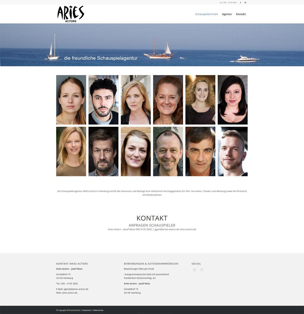 Schauspieleragentur Aries Actors Webdesign Aries Actors JF Mediendesign