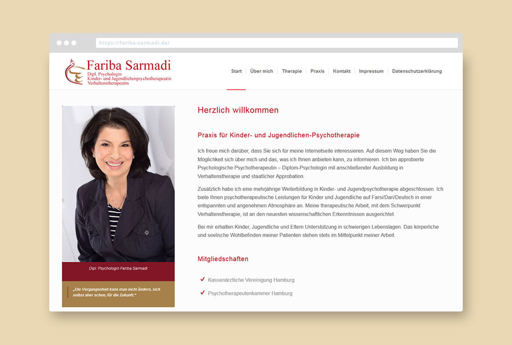 'Webdesign Referenz Diplom Psychologin Fariba Sarmadi