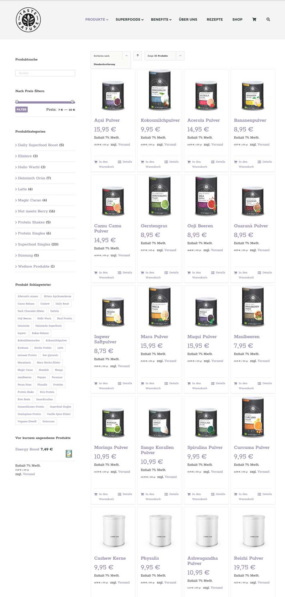 Taste Nature shopuebersicht Woocommerce Onlineshop Taste-Nature JF Mediendesign