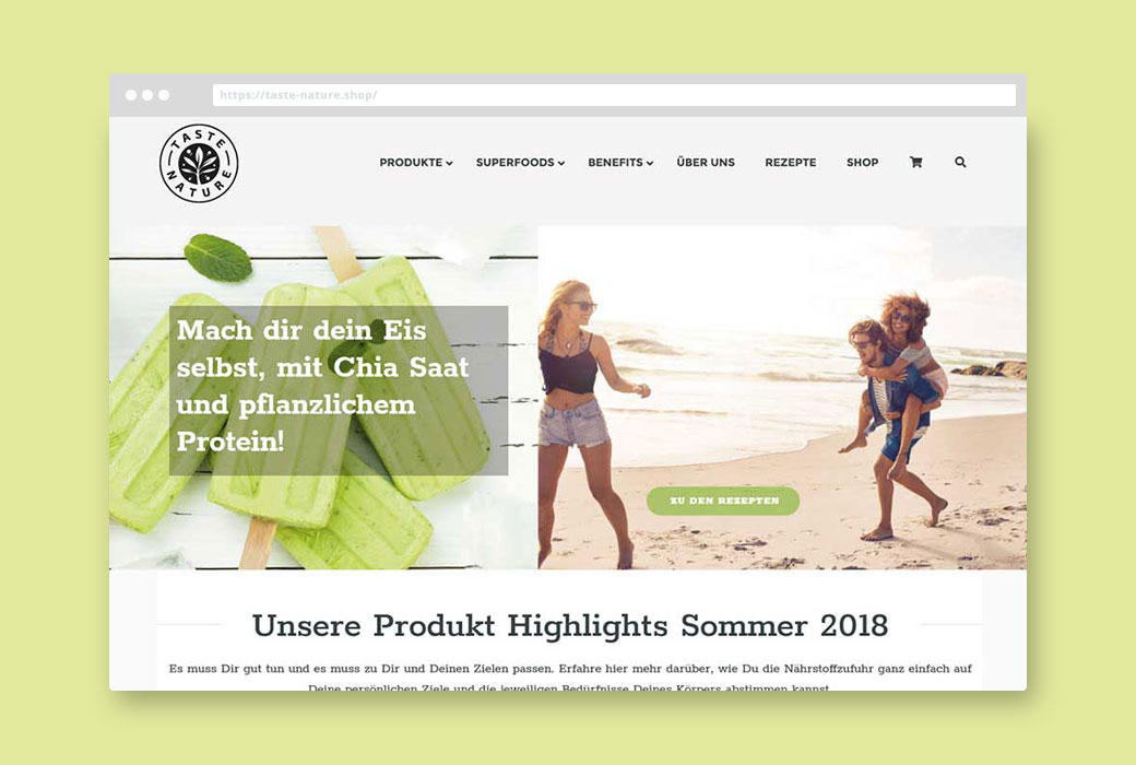 Webdesign Referenz Onlineshop Taste Nature