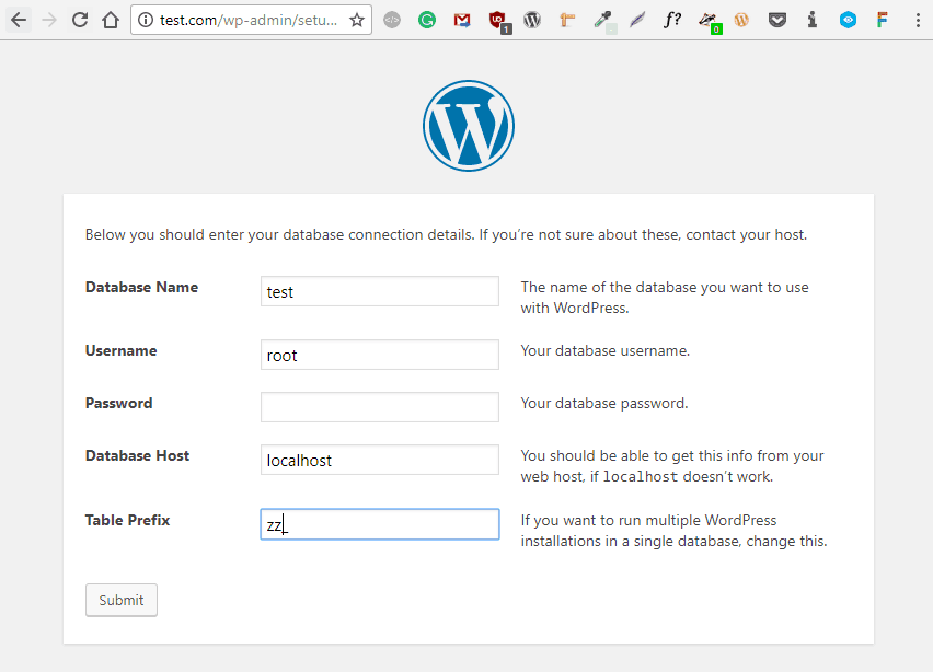 Wordpress lokal installiern - Die WordPress Installation