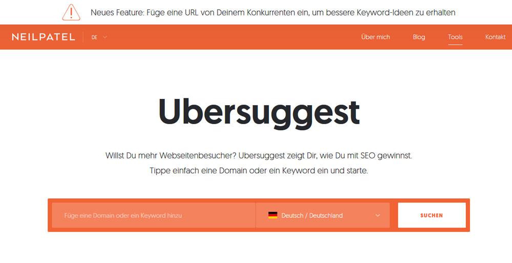Keyword Recherche Tool-Ubersuggest