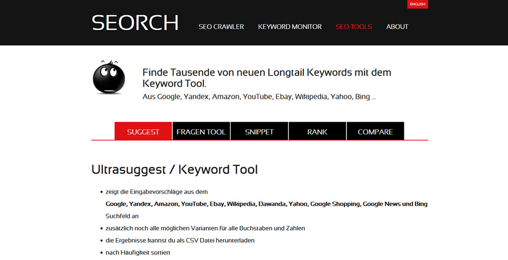 Keyword Recherche Tool SEORCH Suggest