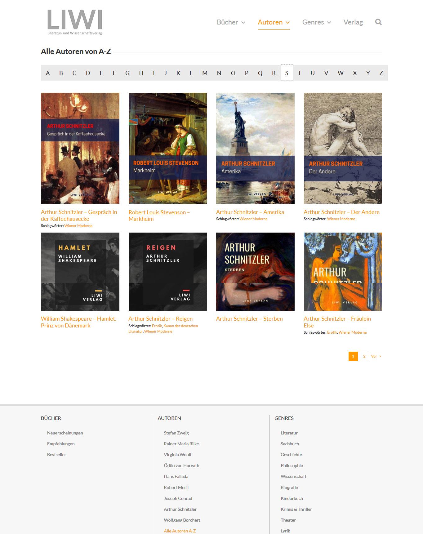 Webdesign Liwi-Verlag-Autoren A-Z