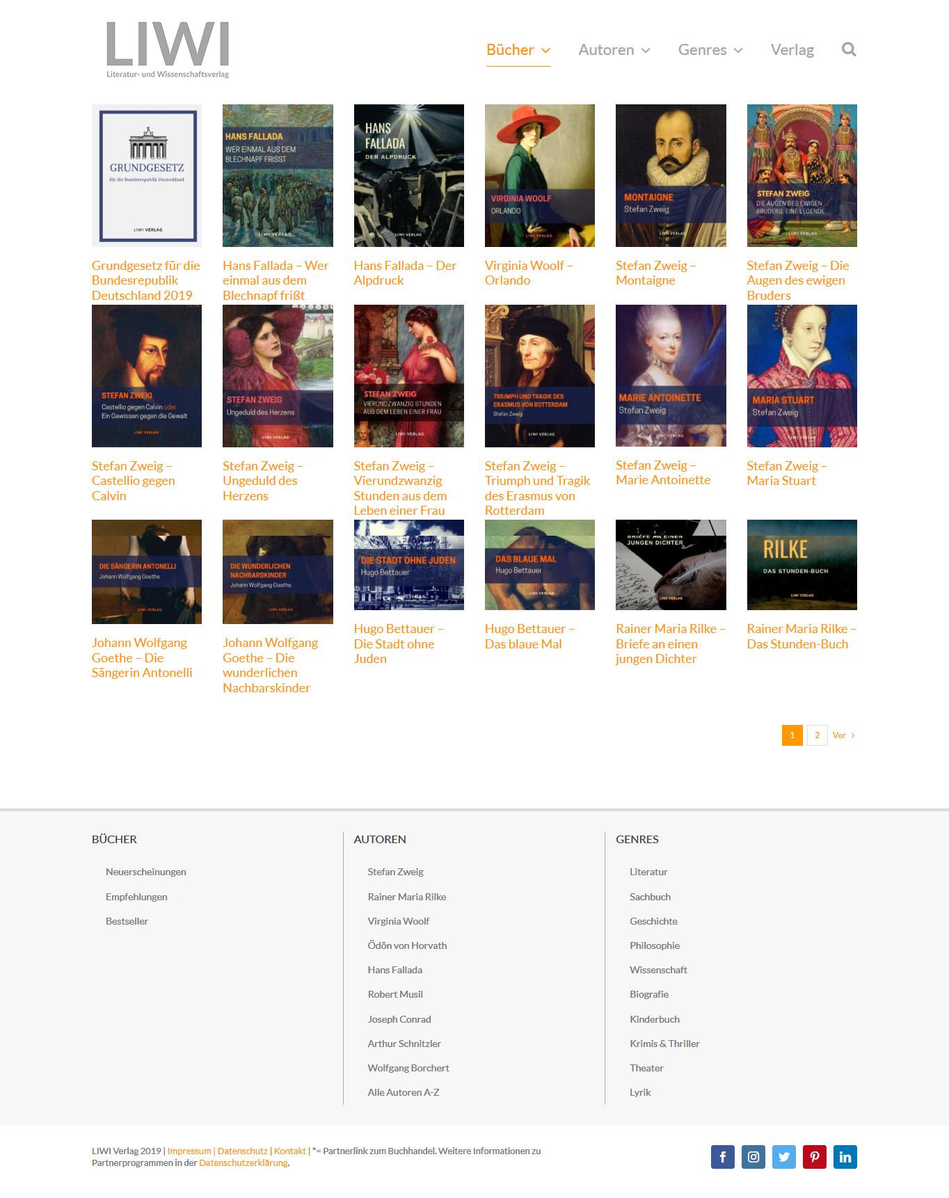 Webdesign Liwi Verlag - Kategorieseite Bücker