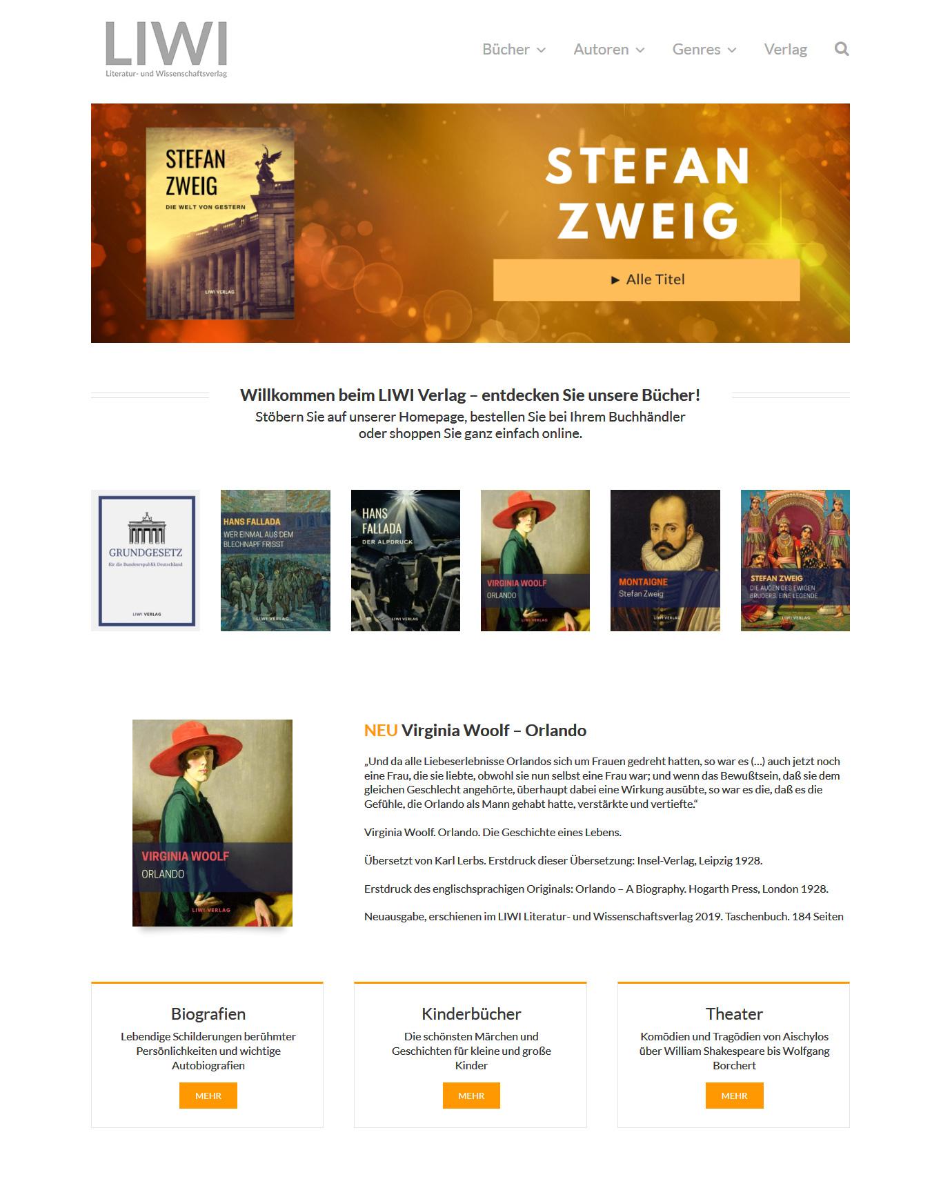 Webdesign Liwi Verlag - Startseite