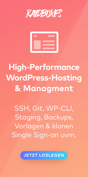 Anzeige Raidboxes Wordpress Hosting