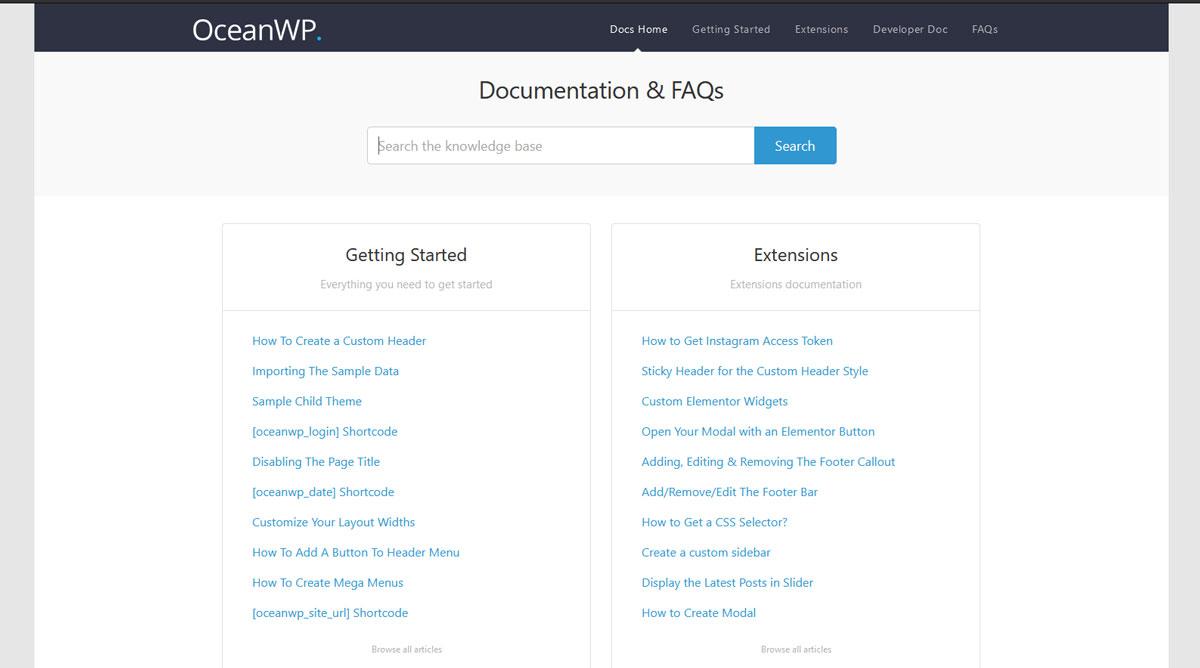 OceanWP Dokumentation