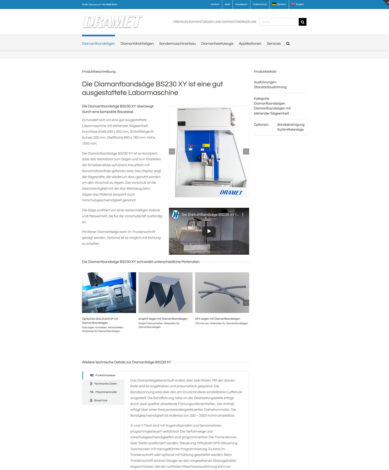 DRAMET Diamantbandsaegen DRAMET - SEO und Contentmarketing JF Mediendesign