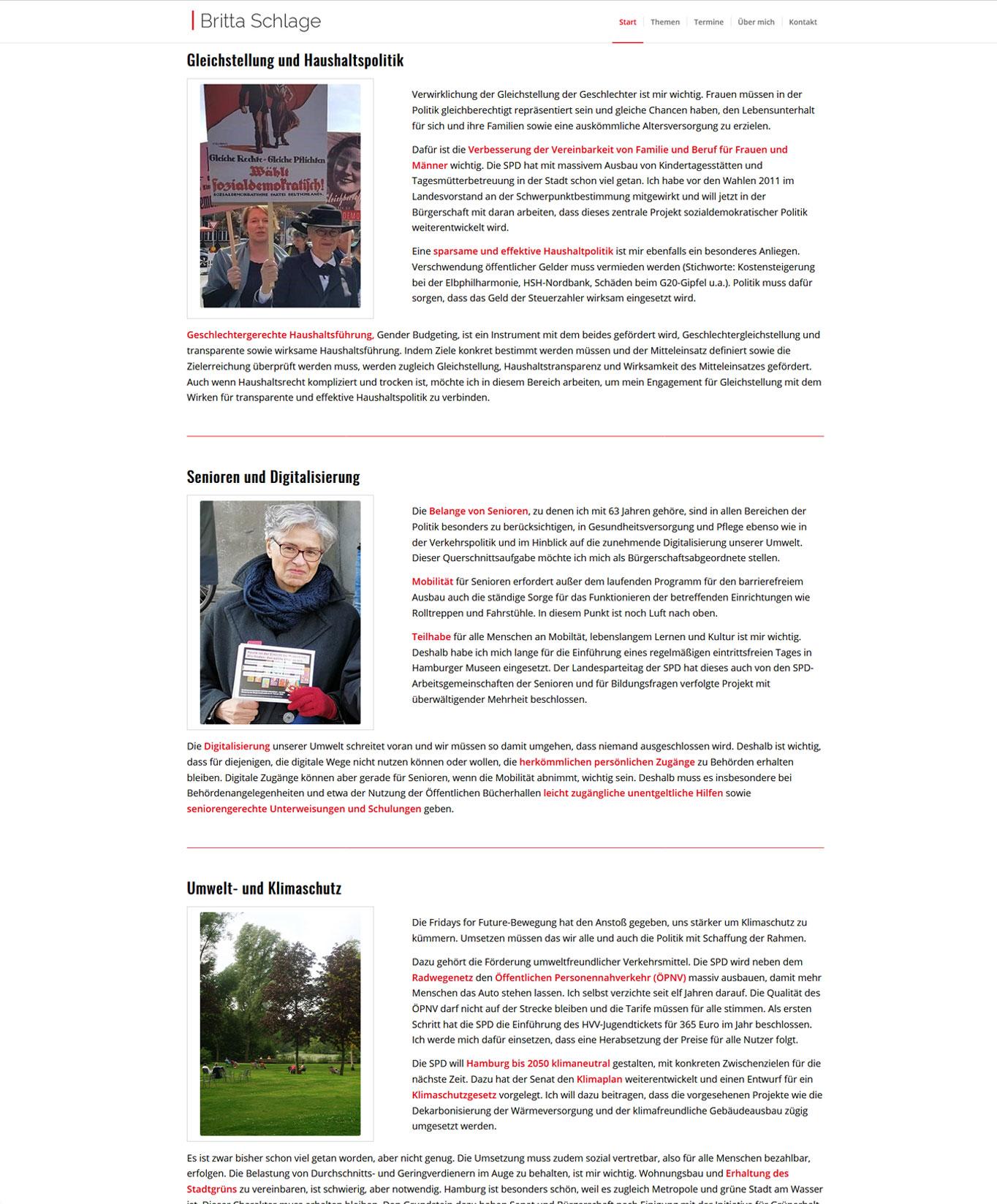 Britta Schlage Startseite2 Webdesign Britta Schlage - SPD Hamburg JF Mediendesign