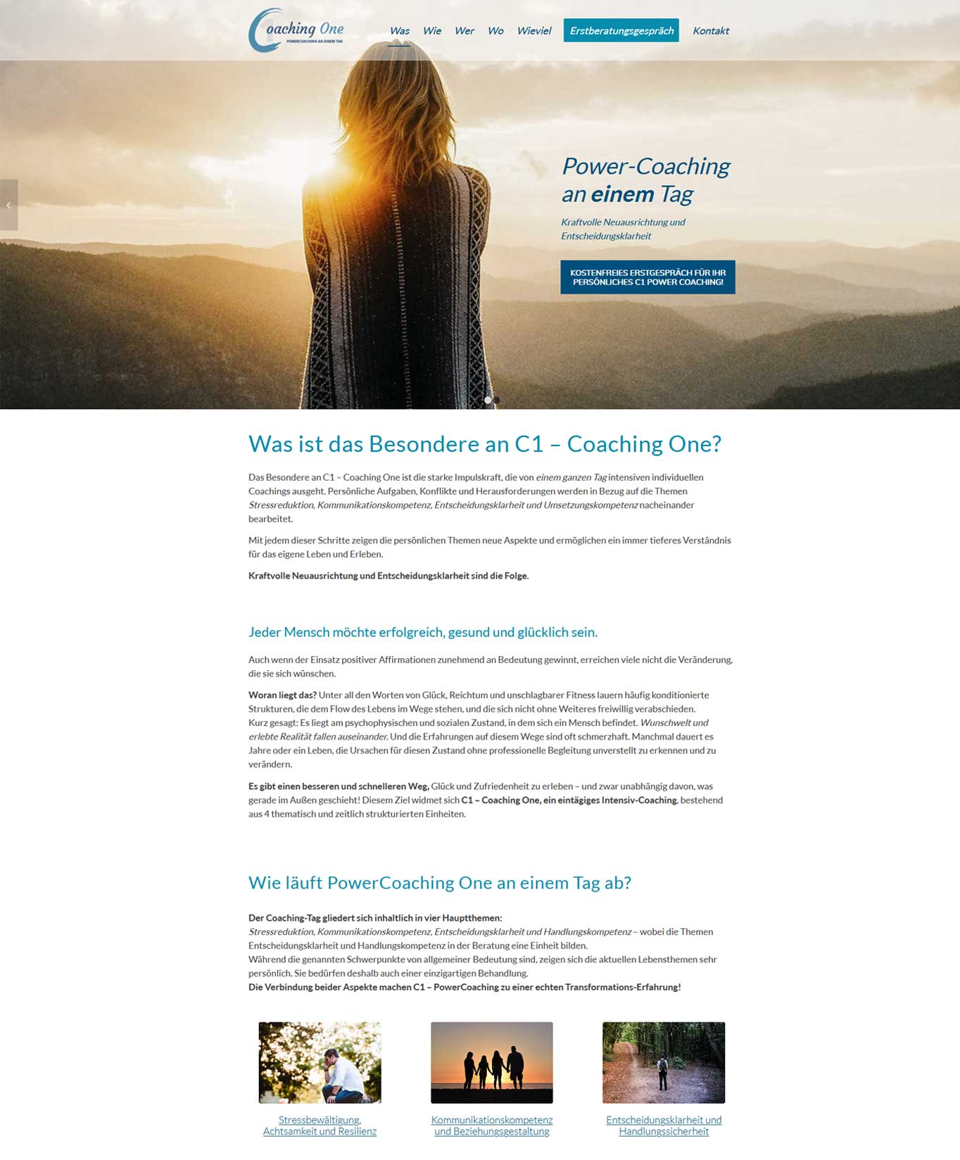 Webdesign Startseite c1coaching-de