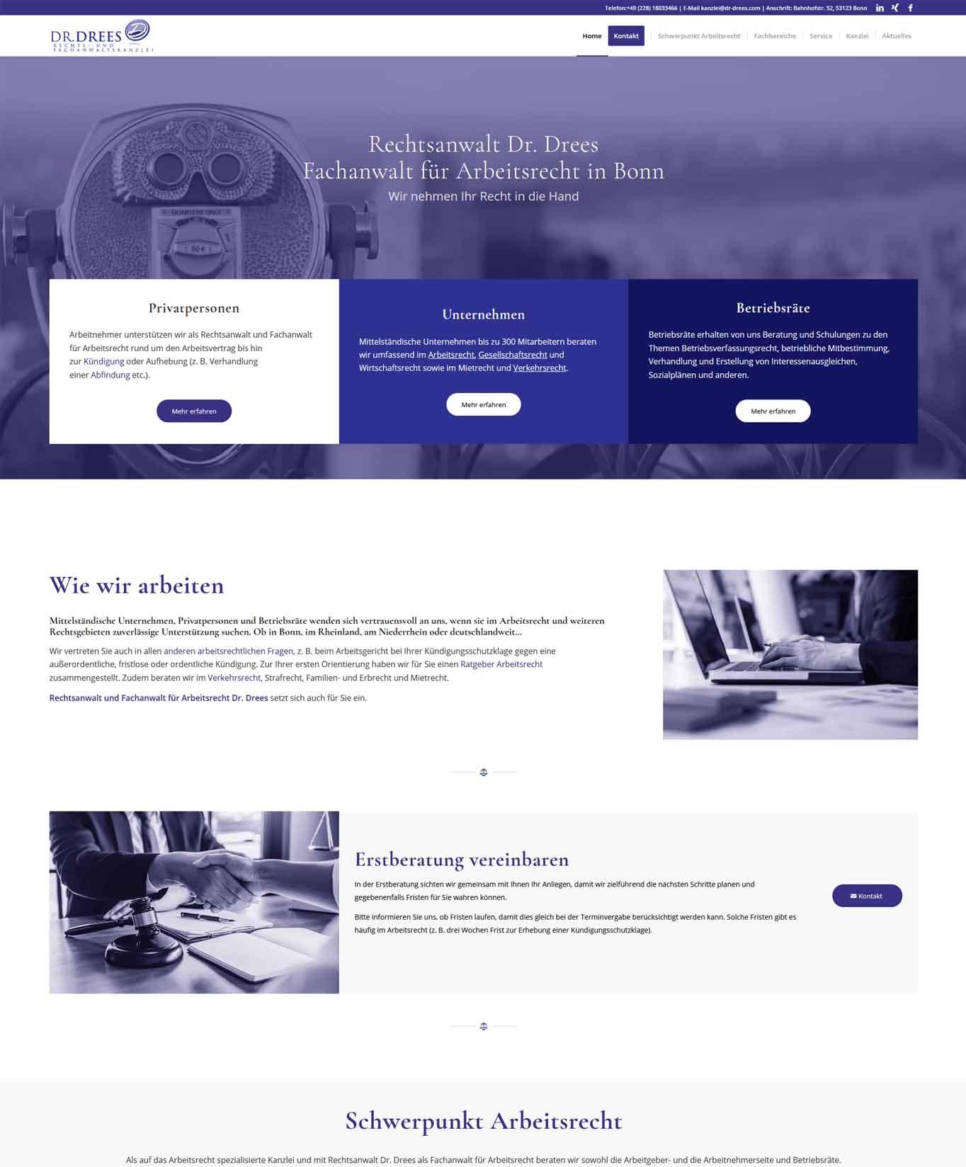 Dr Drees Startseite Webdesign Rechtsanwaltskanzlei Dr. Drees JF Mediendesign