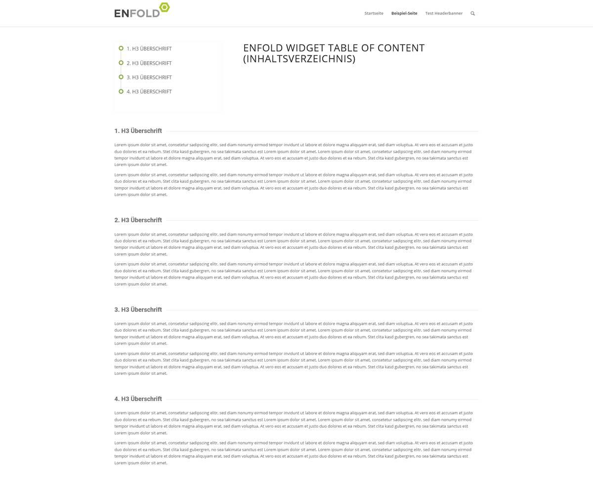 Enfold Inhaltsverzeichnis im Frontend