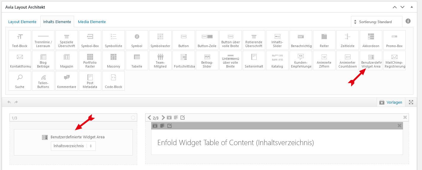 Im Avia Layout Architekt das Element Widget Area hinzufügen