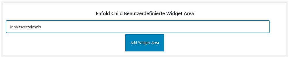 Neue Widget Area anlegen