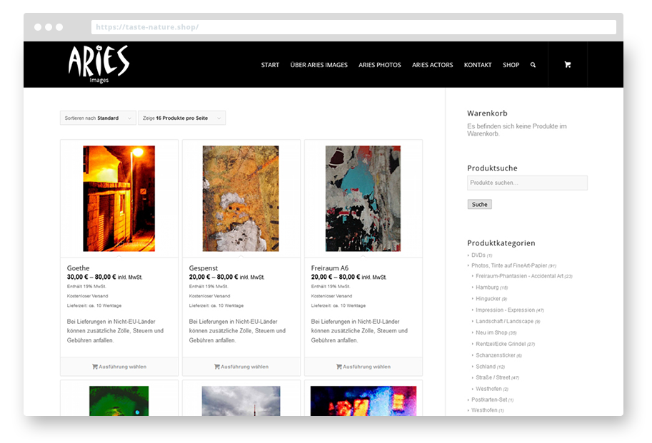 Aries Images Woocommerce Onlineshop