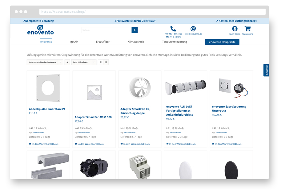 enovento Woocommer Onlineshop