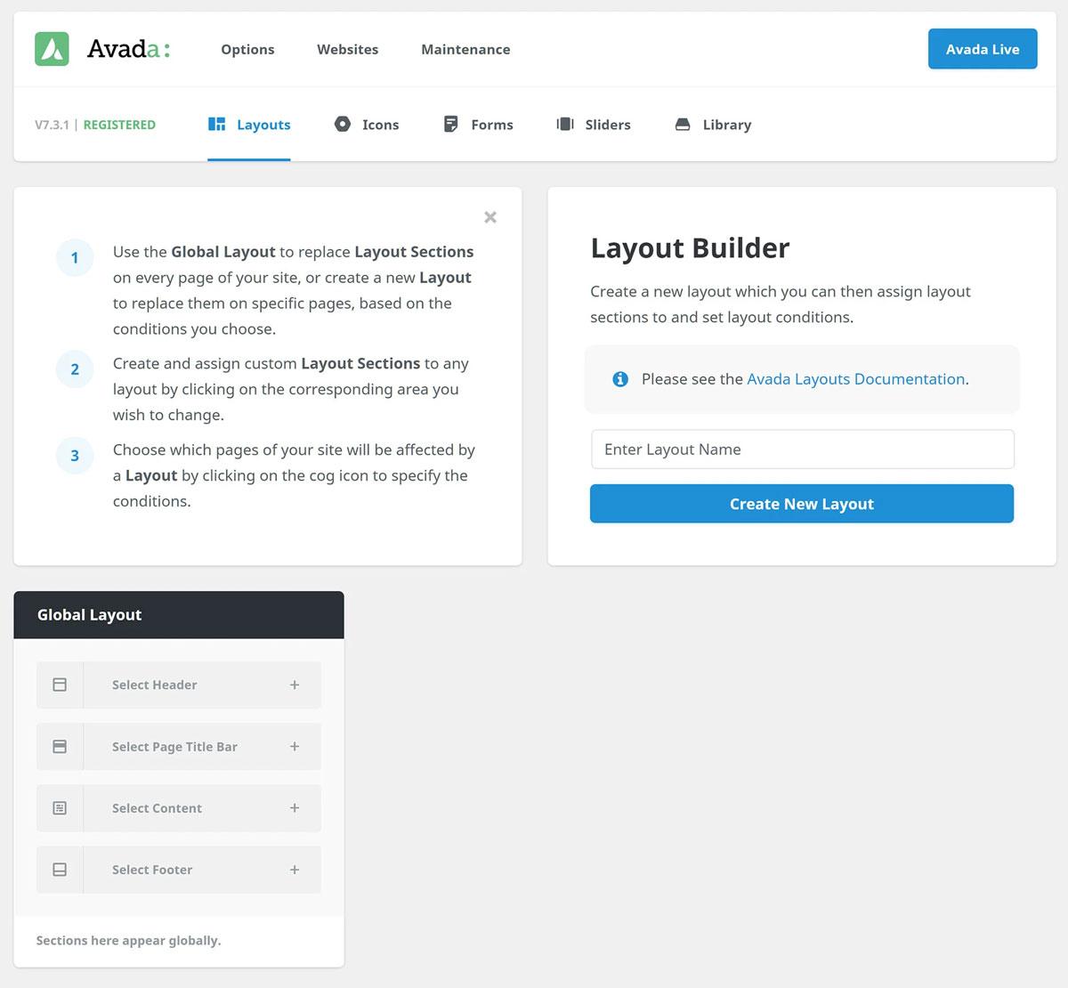Übersichtsbereich Avada Layout Builder