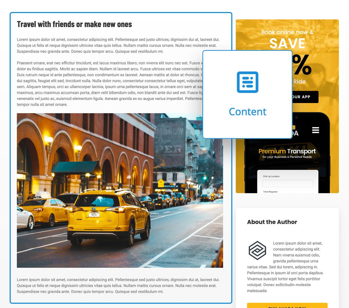 Content Section Beispiel im Frontend