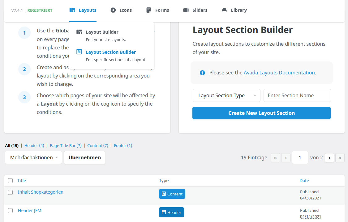 Avada Layout Section Builder