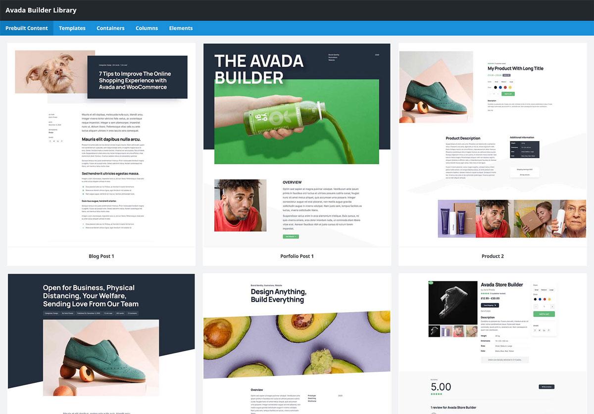 Vorlagen für Prebuild Pages im Avada Theme