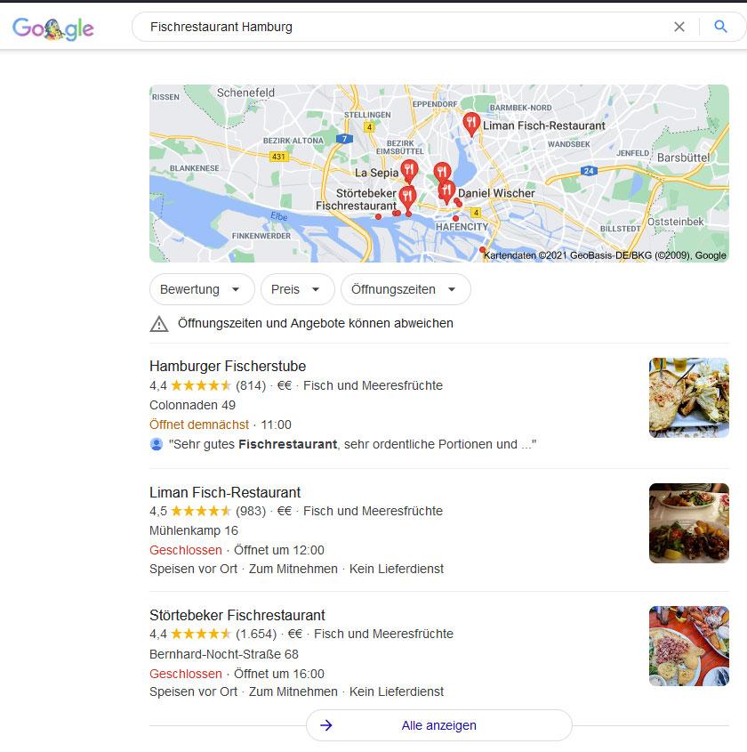 Lokale Suchergebnisse von Google